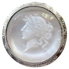 Antique Edwardian 14K Gold & Platinum Carved Moonstone Intaglio Stick Pin