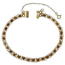 Antique Victorian 14K 15CT Gold Star Link Bracelet