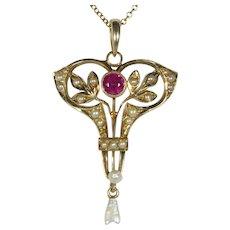 Antique Edwardian 14K Gold Frank Krementz Seed Pearl & Ruby Lavaliere Pendant