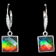 Ammolite Earrings with Faceted Square Stones