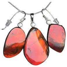 Red Blazer Ammolite Pendant and Earring Set