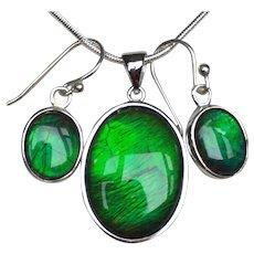 Intense Green Ammolite Pendant and Earring Set