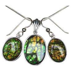 Ammolite Pendant and Earring Set - Dragonskin Pattern