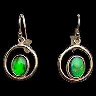 Ammolite Dangle Earrings - Bright Green