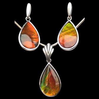 Ammolite Teardrop Pendant and Earring Set