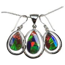 Ammolite Mosaic Pendant and Earring Set