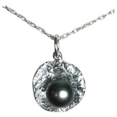 Tahitian Black Pearl in Sterling Oyster