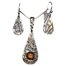 Pendant and Earring set with Ammolite Accent