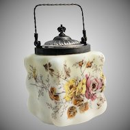 C.F. Monroe Wavecrest Biscuit Jar Puffy Egg Crate Art Glass Mt. Washington Circa 1890s