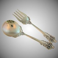Wallace Sterling Silver Grand Baroque Salad Serving Set in Presentation Box circa 1941