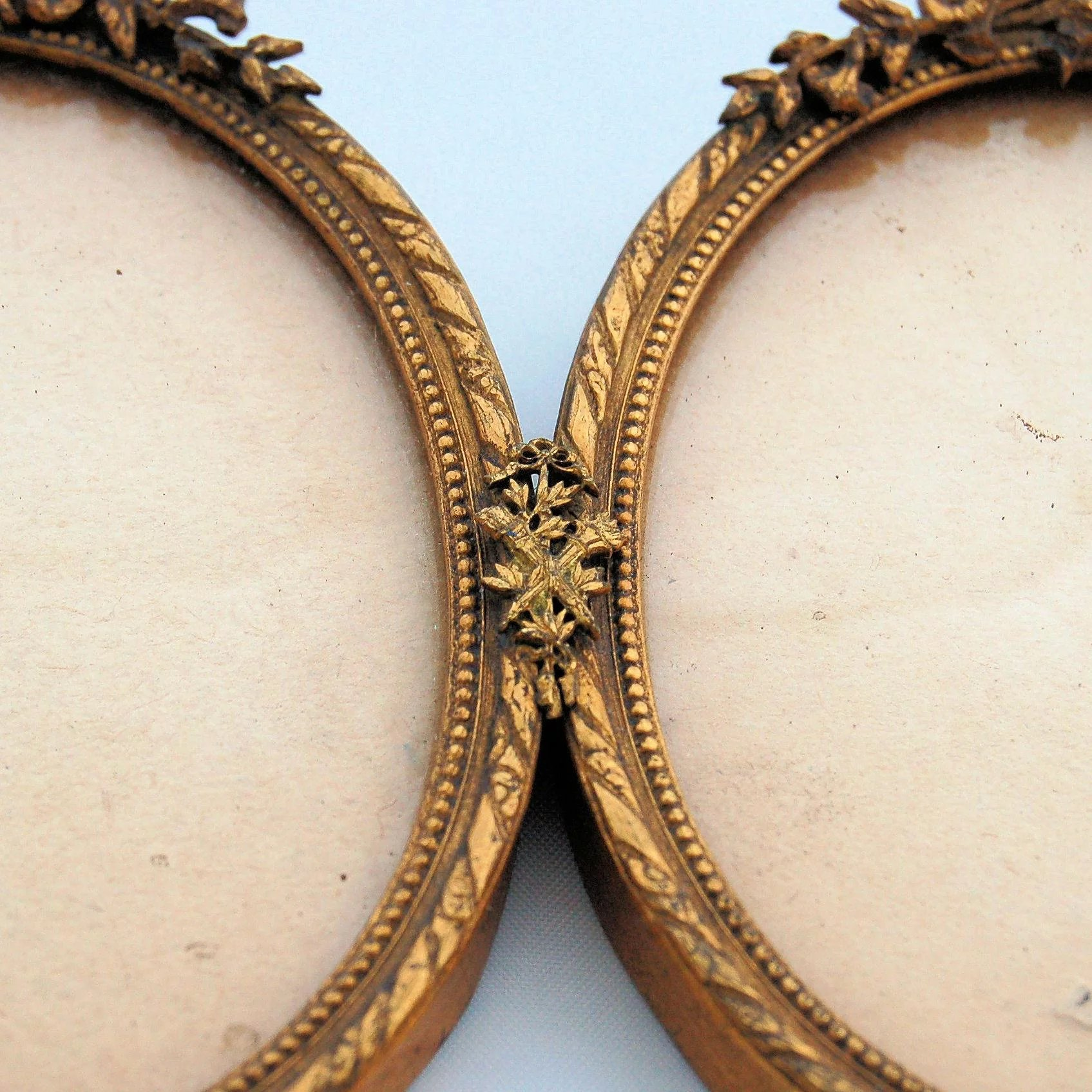 Antique French Bows and Ribbons Oval Frames Brass Ormolu 19th ...