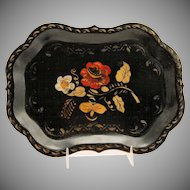 Vintage Black Painted Toleware Tray Folk Art Tin Metal Scalloped Flowers Gold Stencil