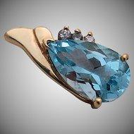 14k Gold Blue Topaz Pendant Three Diamond Accents Large 5 carat Wedding Brides Gift