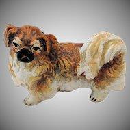 Austrian Vienna Pekingese Bronze Figurine Cold Painted Shih Tzu Dog Miniature Dollhouse Figure