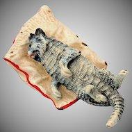 Vintage Cold Painted Bronze Sleeping Cat on Pillow Austrian Dollhouse Miniature Marked Austria Vienna