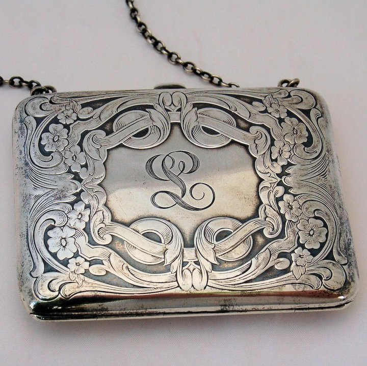 Victorian Sterling Silver Dance Purse Calling Card Case Antique Late ...