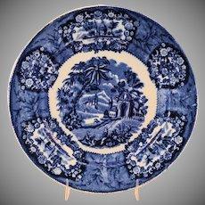 Staffordshire Flow Blue Transferware Plate Oriental Pattern by Thomas Fell Antique circa 1817-30