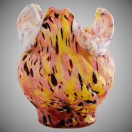 Ets Legras Spatter Art Glass Vase Yellow Burgundy Pink