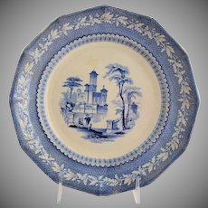 Antique Staffordshire Transferware Plate Light Blue Romantic Water Scene Wedding Gift Remembrance