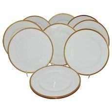 Antique Limoges Theodore Haviland Dinner Plates Gold Band Set of 10 France Dinnerware