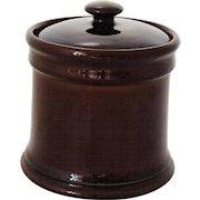 Vintage Tobacco Humidor Jar Brown Glaze Art Pottery Classic Mid Century Design 1950-60s