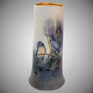 Antique Limoges Porcelain Vase Bernardaud and Company Hand Painted Birds Artist Signed Gardner