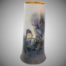 Antique Limoges Porcelain Vase Bernardaud and Company Hand Painted Birds Artist Signed Gardner