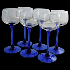 Luminarc Crystal Wine Glasses Cobalt Blue Sapphire Stems Made in France  J.G. Durand Set of Six