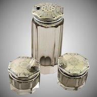 Antique Art Deco Sterling Silver Vanity Set Polished Paneled Crystal Talcum Shaker Cream Jars