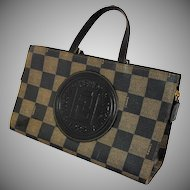 Vintage Fendi Handbag Purse Dark Brown Checkered Coated Canvas Embossed Leather Medallion