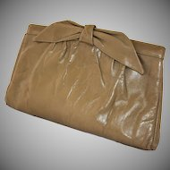 Vintage Morris Moskowitz Clutch Handbag Taupe Leather Purse with Shoulder Strap circa 1980
