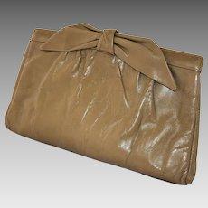 Vintage Morris Moskowitz Clutch Handbag Taupe Leather Purse with Shoulder Strap 1980s