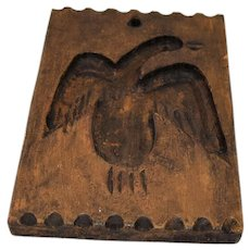 Vintage Primitive Folk Art Butter Mold Americana Eagle Treenware Hand Carved Wooden Treen Folkart