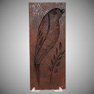 Vintage Folk Art Treenware Primitive Hand Carved Wooden Bird Butter Mold