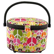 Vintage 1970s Sewing Basket Peace Signs Swing Handle Pin Cushion Footed Storage Box