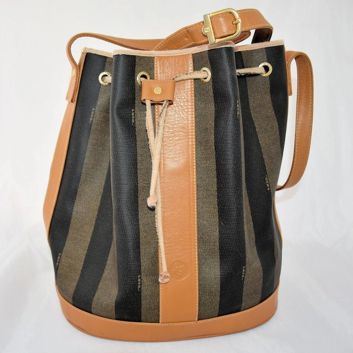 858e8b2ea47e ... where can i buy vintage fendi shoulder bucket bag classic stripe  drawstring purse large tote handbag