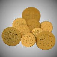 Ben Silver Blazer Buttons 14k Gold Fill Satin Finish Monogrammed Set of 9