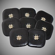 Eight Vintage Couture Black Leather Buttons Silver Embellished Centers Painted Metal Backs