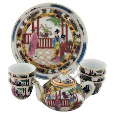 Chinese Porcelain Children Tea Set Childs Toy or Doll Miniature China Dishes - Red Tag Sale Item