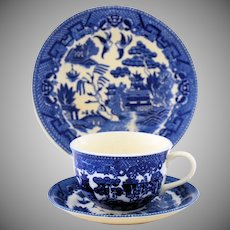 Blue Willow Cup Saucer Plate Trio Large Three Piece Set Black Japan Mark