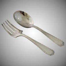 Vintage Sterling Silver Baby Fork Spoon Set Classic Design Infant Flatware in Original Box