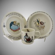 Vintage Beatrix Potter Peter Rabbit Nursery Set by Wedgwood Made in England