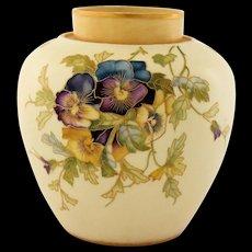 Antique Royal Worcester Porcelain Urn Vase Hand Painted Pansies Gold Gilt Trim 19th Century
