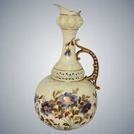 Rudolstadt Germany Porcelain Pitcher Urn Hand Painted Flowers Gold Gilt Ornate Reticulated 14 Inches