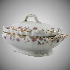 Vintage Limoges Covered Vegetable Serving Dish Morning Glory Flowers by Lewis Straus and Sons