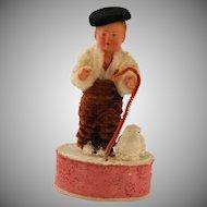 Vintage German Composition Doll Candy Box Shepherd Boy Lamb Chenille Dress Felt Beret Hat