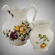 Antique Buffalo Pottery Water Pitcher Vase Transferware Yellow Purple Violet Rose Flowers