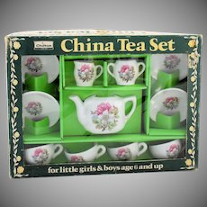Vintage Chilton Childs Toy China Tea Set in Original Box Made in Japan