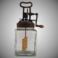 Vintage Butter Churn Square Jar Cast Iron Hand Crank Wood Paddle