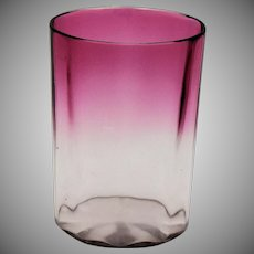 Victorian Cranberry to Clear Glass Tumbler Panel Optic Mothers Day Gift